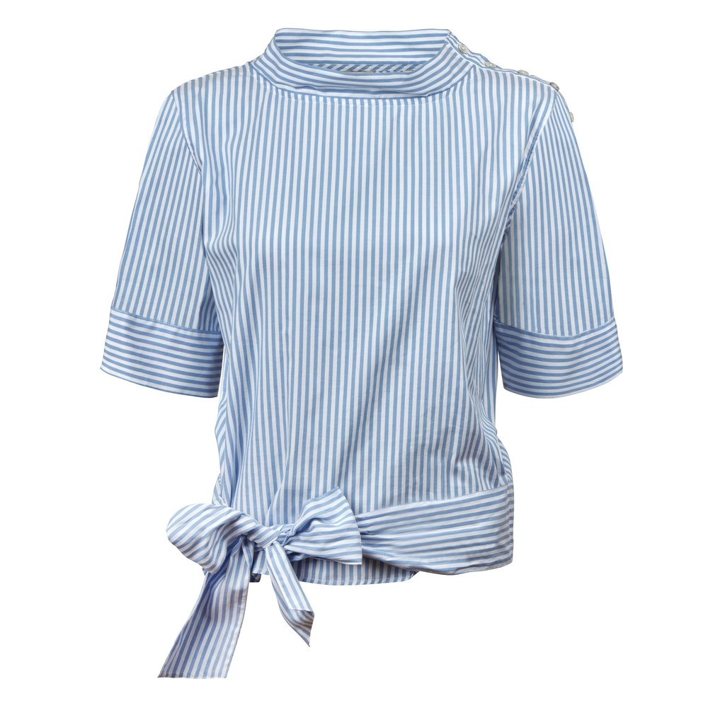 Striped Feminine Blouse With Waist Bow - Bluse med bindebånd