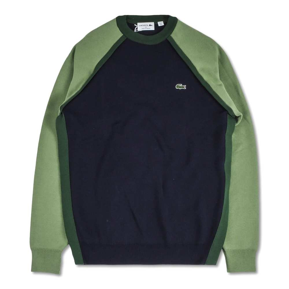Sweater with logo and green sleeves