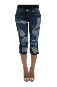 Stretch Patchwork Jeans Shorts