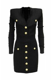 Short knitted dress with gold buttons