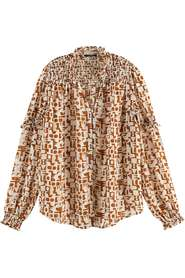 Sheer shirt with all over print
