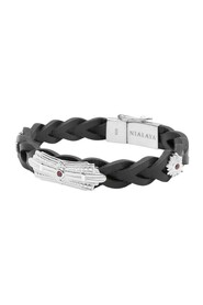 Men's Braided Leather Bracelet with Sterling SIlver Detail