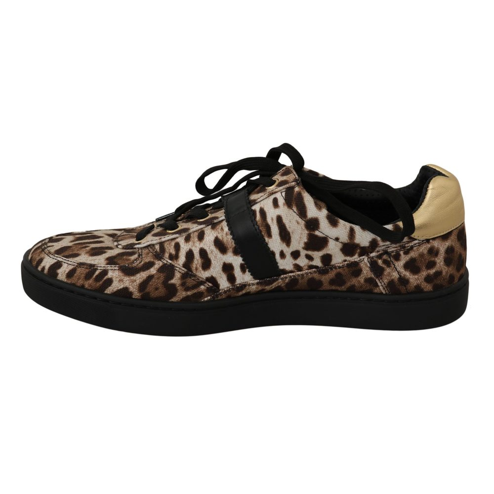 Brown Leopard Cotton Leather Sneakers | Dolce & Gabbana | Sneakers | Men's shoes
