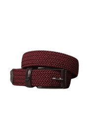 Elastic belt with leather trim