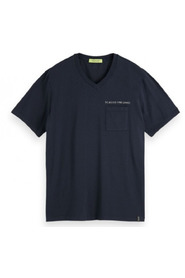 Washed v-neck tee with chest pocket 0005 155412