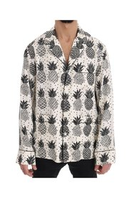 Silk Pineapple Print Casual Shirt