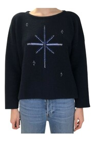 Intarsia long sleeved round neck sweater
