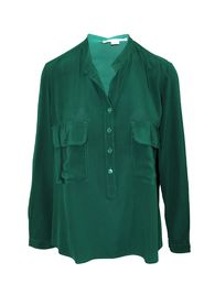 Estelle Silk Crepe De Chine Shirt Green