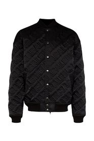 quilted embroidered logo bomber jacket