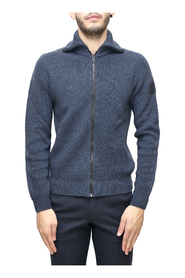 Full zip jacket in ribbed virgin wool knit