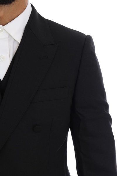 Black Wool Stretch Double Breasted Suit Dolce & Gabbana Garnitury Całe