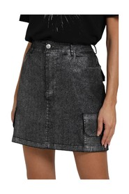LAMINATED SKIRT WITH POCKETS ON THE SIDE AND ON THE BACK