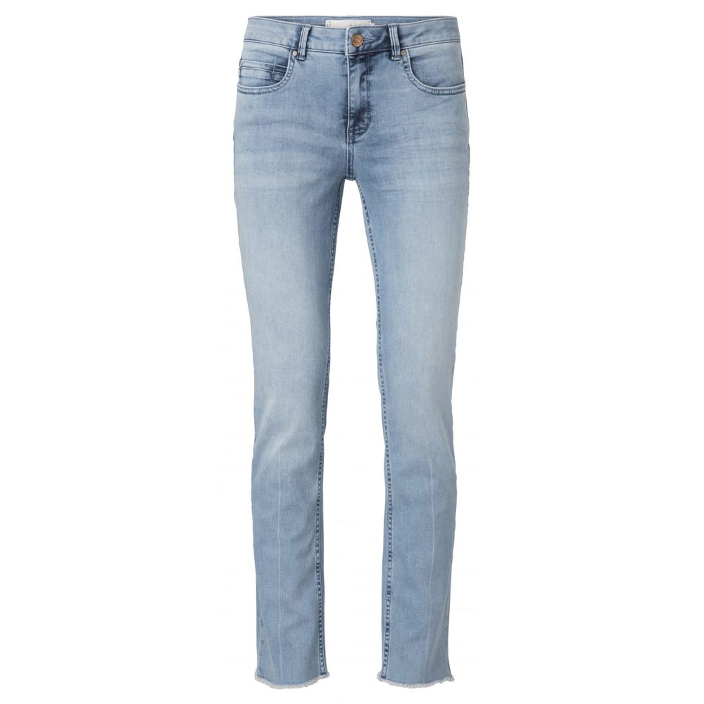 BASIS STRAIGHT DENIM JEANS WITH RAW EDGE