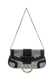 Crystal Embellished Suede Chain Clutch