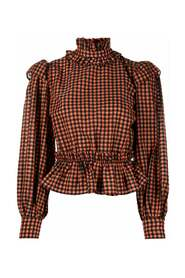 F5585 Seersucker Check Cropped Blouse