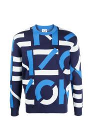 intarsia-stickad tröja med logotyp