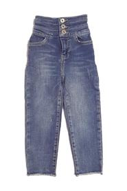 JEANS WITH 3 BUTTONS AND DRAWN HEMS