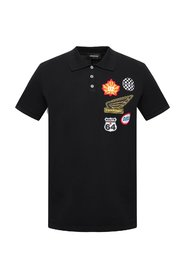 Patched polo shirt