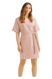 Red Striped Hand Woven Organic Cotton Dress - Christabel
