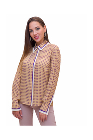 Blouse with tie print