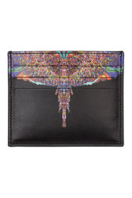 men's genuine leather credit card case holder wallet multicolor wings