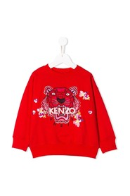 Floral tiger embroidery sweatshirt