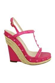 Pre-owned Studded Espadrille Wedges