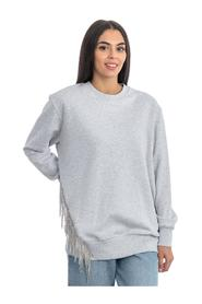 CREW NECK SWEATSHIRT WITH SWAROWSKY FRINGES