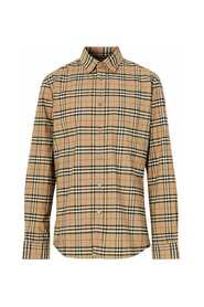 Shirt  All-over tartan pattern Classic cut and pointed collar Front closure with mother of pearl buttons