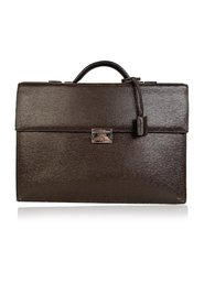 Textured Leather Briefcase Work Bag