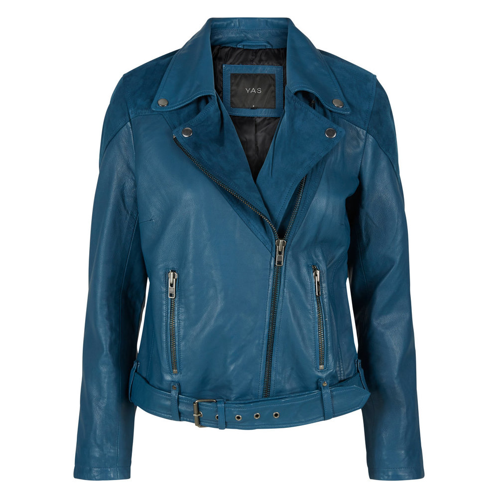 Leather jacket blue biker