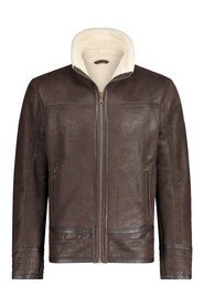 Leather winter jacket lined 20645