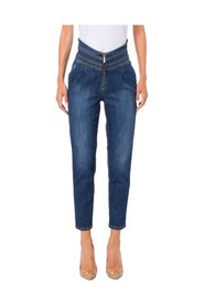 High waisted pleated jeans raw washed