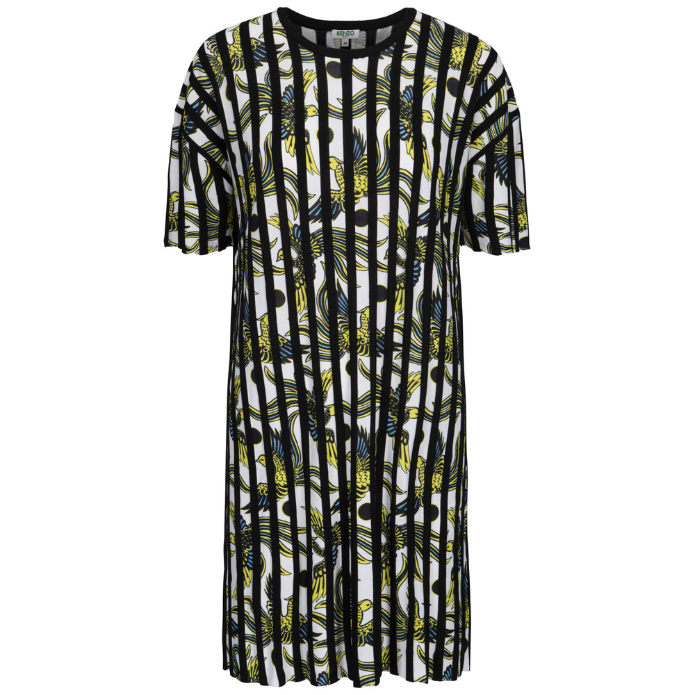Printed vertical ribs dress - Plisseret kjole i strik - Kenzo