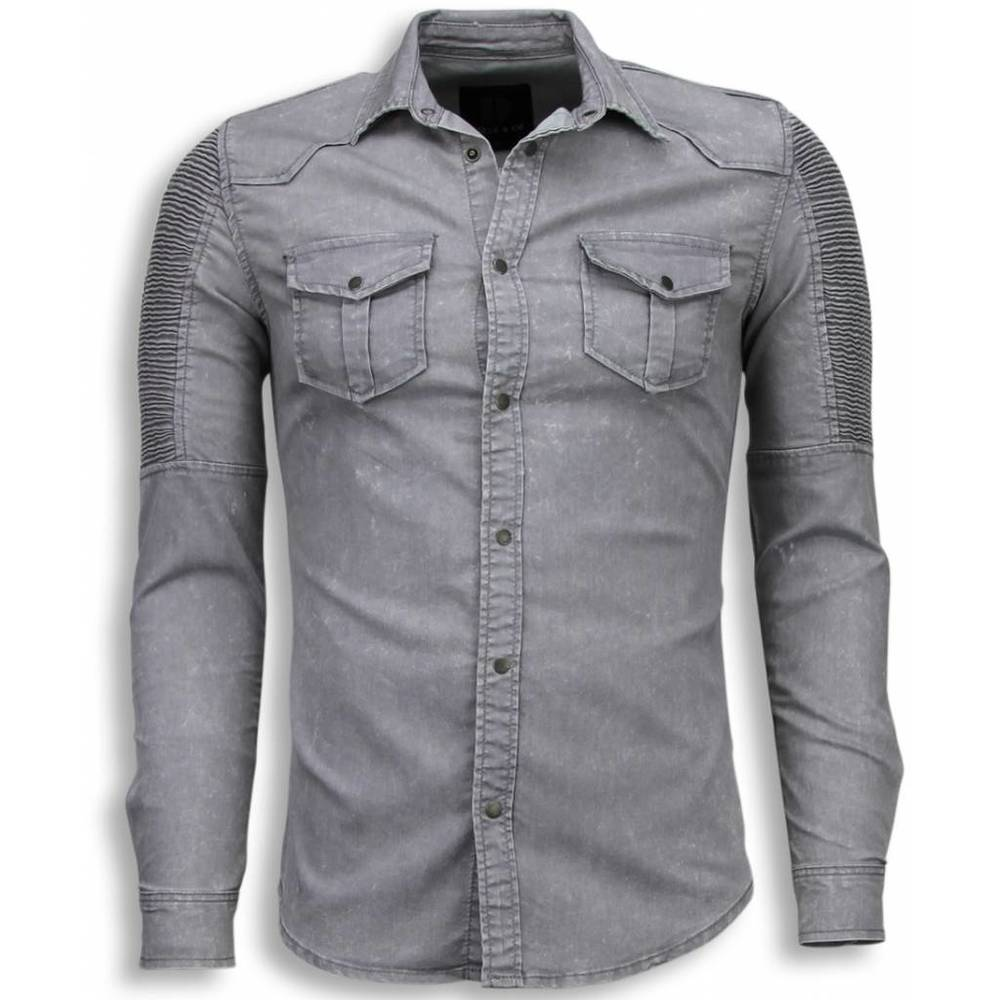 Biker Denim Shirt - Slim Fit Ribbel Schoulder