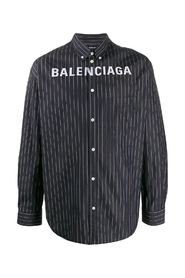 pinstriped logo buttoned shirt