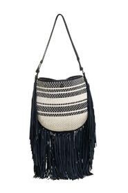 Woven Leather and Fabric Fringe Hobo