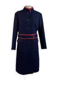 Wool Belted Coat with Contrast Trim