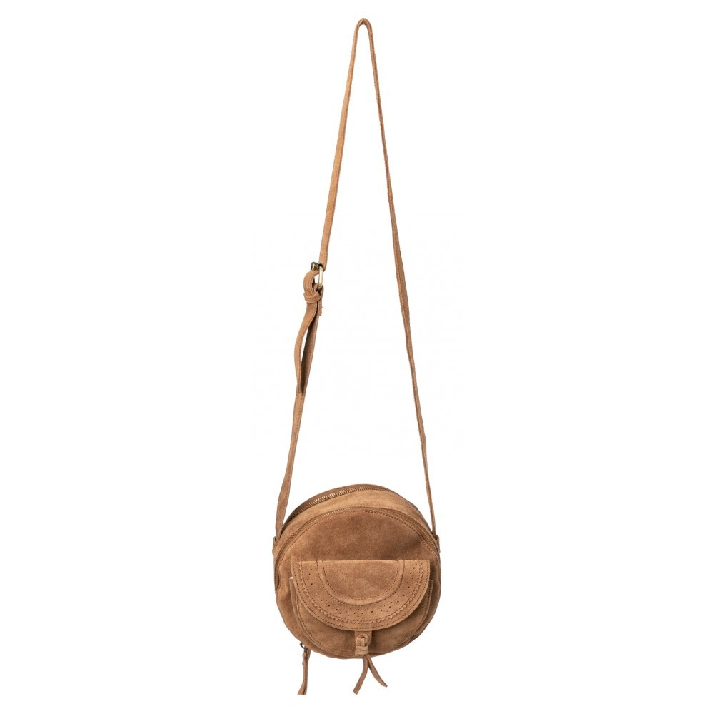 Round small suede bag