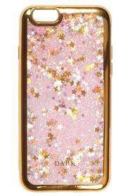 IPHONE COVER PINK/GOLD W. LIQUID GLITTER