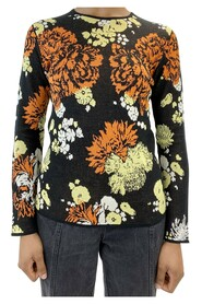 Round neck long sleeve floral print top