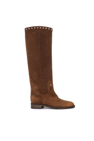 Brooklyn brown leather boots with studs