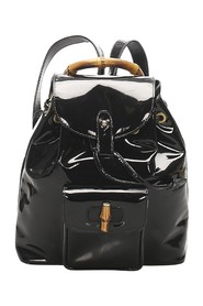 Bamboo Patent Leather Drawstring Backpack