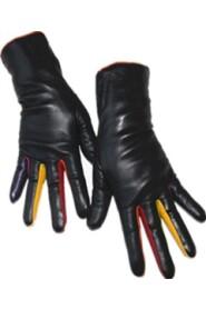 Färgrik läderhandskar