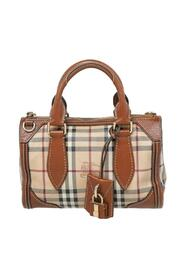 pre-owned Haymarket Coated Canvas And Leather Zip Satchel