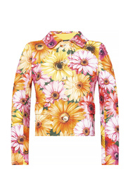 Cropped cady jacket with gerbera-daisy print and pearl DG buttons