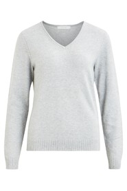 Vila VIRIL L/S V-NECK KNIT TOP-NOOS ljusgrå