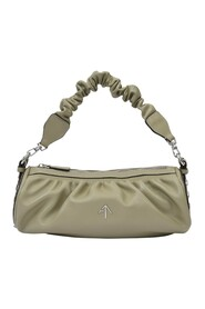 Ruched Cylinder Chain Bag  Leather