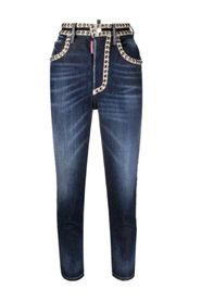 CRYSTAL HI TWIGGY JEANS MIT HOHER TAILLE