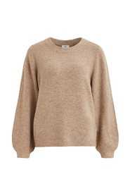 Balloon-sleeved knitted sweater
